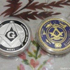 Medallas históricas: LOTE 2 MONEDAS CONMEMORATIVA HERMANDAD MASÓNICA. Lote 210799859