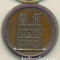 Medallas históricas: 1842 - RESTAURACIÓN DE NOTRE-DAME DE PARÍS - MEDALLA CON ESTUCHE ORIGINAL. Lote 212016612
