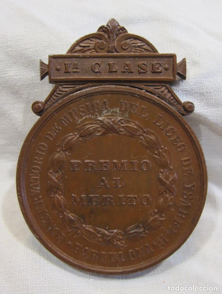 Medallas históricas: MEDALLA DE 1ª CLASE. CONSERVATORIO DE MÚSICA DEL LICEO DE YSABEL II, BARCELONA 5,6 X 4,2 CM. - Foto 2 - 213477608