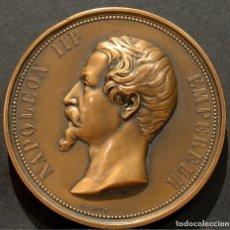 Medallas históricas: MEDALLA NAPOLEÓN III VIADUCTO FERROVIARIO DE LAVAL 1855 INAUGURACIÓN FERROCARRIL OCCIDENTAL A.BOVY. Lote 215255481