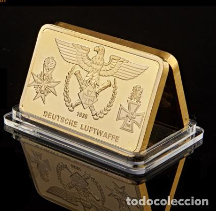 Medallas históricas: LINGOTE ORO 24KT AVIONES COMBATE ALEMANI NAZI - DEUTSCHE LUFTWAFFE - Foto 2 - 215753201