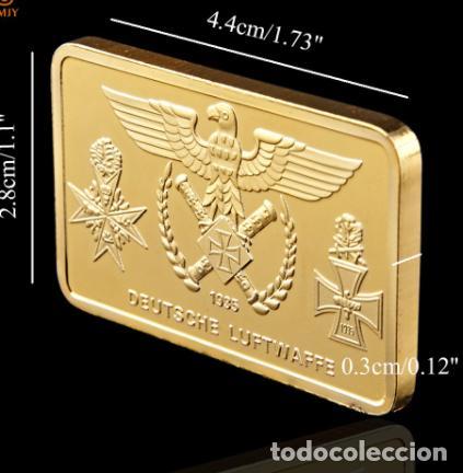 Medallas históricas: LINGOTE ORO 24KT AVIONES COMBATE ALEMANI NAZI - DEUTSCHE LUFTWAFFE - Foto 3 - 215753201