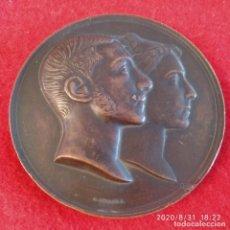 Medallas históricas: MEDALLA DE BRONCE DE LA BODA DE ALFONSO XII CON M. DE LAS MERCEDES, 70 MM. DE G. SELLAN, VER FOTOS. Lote 215932986