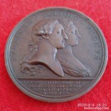 Medallas históricas: MEDALLA DE BRONCE 1765 BODA DE CARLOS IV CON LUISA, 5 CM, DIÁMETRO, BUEN EJEMPLAR. VER FOTOS.. Lote 216706080