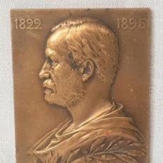 Medallas históricas: MADALLA PLACA DE BRONCE ANTIGUA LOUIS PASTEUR 1822 / 1895 FIRMADA G. PRUD'HOMME 1910. Lote 217284720