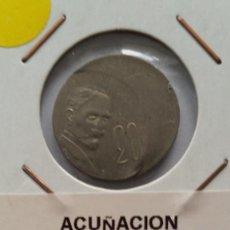 Medallas históricas: ERROR- MEXICO 20 CENTAVOS ACUÑACION MUY DESPLAZADA ( X099 ). Lote 218413546