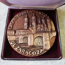 Medalhas históricas: GRAN MEDALLA BRONCE EXCMO AYUNTAMIENTO DE ZARAGOZA. EL PILAR - PUENTE DE PIEDRA. Lote 219094940