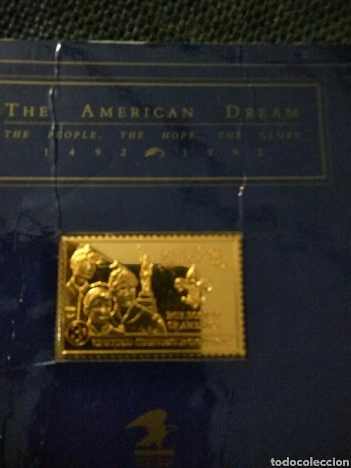LINGOTE PLATA BAÑO DE ORO THE AMERICAN DREAM 1492-1992 (Numismática - Medallería - Histórica)