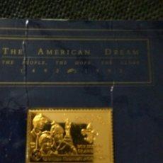 Medallas históricas: LINGOTE PLATA BAÑO DE ORO THE AMERICAN DREAM 1492-1992. Lote 221294266