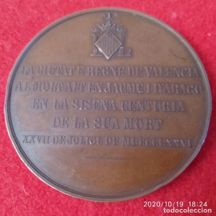 Medallas históricas: Medalla de bronce del 6° aniversario de la muerte de Jaime I, 1876, 50 mm. Buen ejemplar. - Foto 2 - 221586641