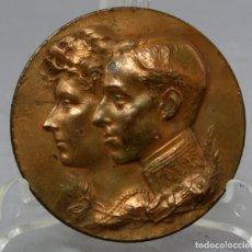 Medallas históricas: MEDALLA BRONCE EXPOSICIÓN HISPANO FRANCESA EN ZARAGOZA ALFONSO XIII 1908 FIRMADA ANDUIZA. Lote 222455355