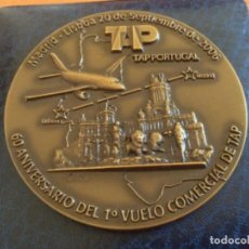 Medallas históricas: MEDALLA BRONCE 60 ANIVERSARIO PRIMER VUELO MADRID - LISBOA, LISBOA - MADRID 1946. Lote 226460125
