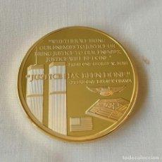 Medallas históricas: MONEDA CON ORO TORRES GEMELAS, DE LAS FUERZAS ESPECIALES NO TE PUEDES ESCONDER. Lote 226602770