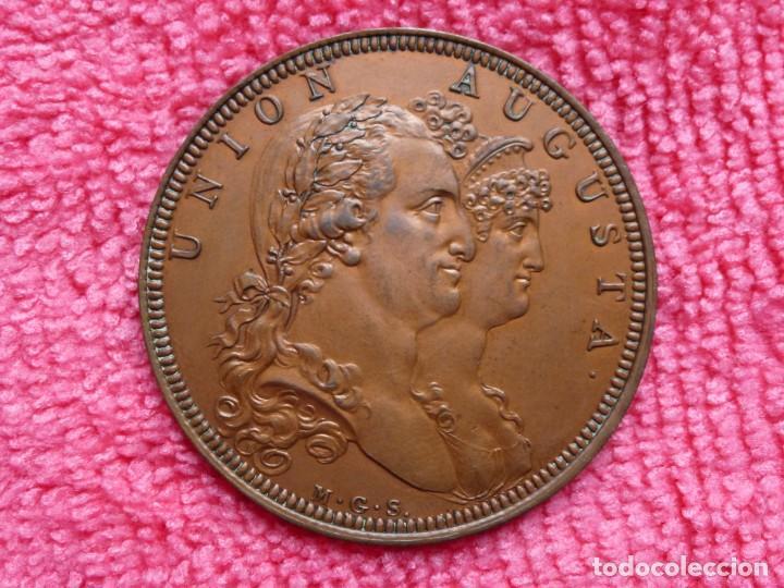Medallas históricas: Rara Medalla 1804 Carlos IV Augusta Unión - Método Droz - Ensayador : M . González Sepúlveda - SC- - Foto 6 - 226625364