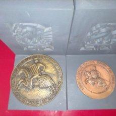 Medallas históricas: 2 MEDALLAS DE BRONCE MACIZO DE JAUME I REY DE VALENCIA (PERFECTO ESTADO). Lote 223885292