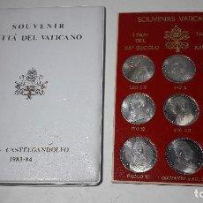 Medallas históricas: CARPETA SOUVENIR CITTA DEL VATICANO ROMA CASTELGANDOLFO AÑO 1983-84, 9 MONEDAS DIFERENTAN PAPAS. Lote 237627790