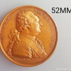 Medallas históricas: LOUIS XVI REY DE LOS FRANCESES 1789 BUEN ESTADO REACUÑACION 53MM. Lote 238609900