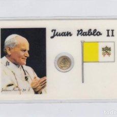 Medallas históricas: JUAN PABLO II.TARJETA PLASTIFICADA CON PEQUEÑA MEDALLITA DE 1 CTM.. Lote 246579050