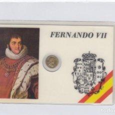 Medallas históricas: FERNANDO VII.TARJETA PLASTIFICADA CON PEQUEÑA MEDALLITA DE 1 CTM.. Lote 246579120
