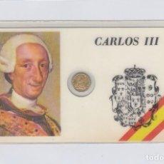 Medallas históricas: CARLOS III. TARJETA PLASTIFICADA CON PEQUEÑA MEDALLITA DE 1 CTM.. Lote 246579360