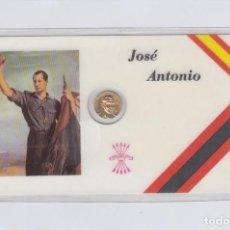 Medallas históricas: JOSÉ ANTONIO. TARJETA PLASTIFICADA CON PEQUEÑA MEDALLITA DE 1 CTM.. Lote 246579530