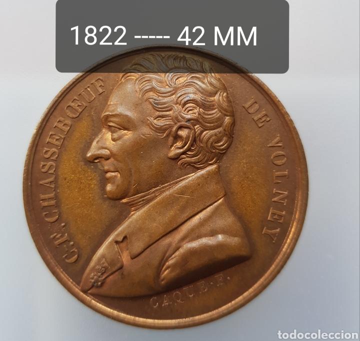 FRANCIA MEDALLA CHASSEBOEUF DE VOLNEY BRONCE PATINA EXQUISITA (Numismática - Medallería - Histórica)