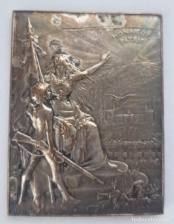 MEDALLA FRANCIA UNION SOCIEDADES DE TIRO ALEGORIAS 38 X 50 MM (Numismática - Medallería - Histórica)