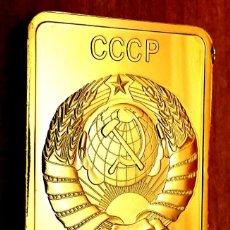 Medallas históricas: LINGOTE CHAPADO EN ORO 0.999 UNION SOVIETICA RUSA CCCP PUTIN CHAPADO EN ORO. Lote 248571810