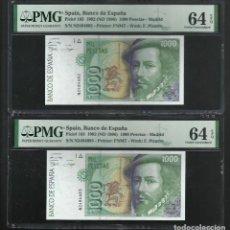 Medalhas históricas: ESPAÑA-BILLETE- 1000 PESETAS 1992 PAREJA SERIE N PMG 64-64 SC UNC ( T144 ). Lote 252192880