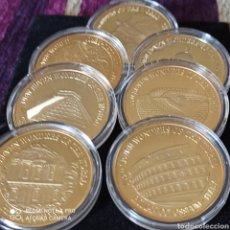 Medallas históricas: FANTÁSTICA COLECCIÓN DE MONEDAS ELECTROGALVANIZADAS EN ORO DE 18 K, LAS 7 MARAVILLAS DEL MUNDO.35 ×1. Lote 256132400