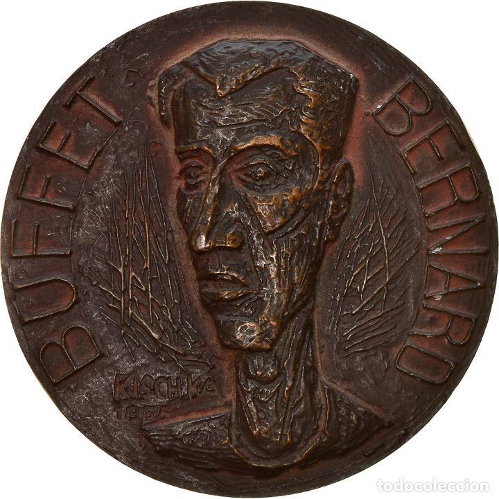 [#8579] FRANCIA, MEDALLA, BERNARD BUFFET, ARTS & CULTURE, 1958, KISCHKA, EBC, BRONCE (Numismática - Medallería - Histórica)