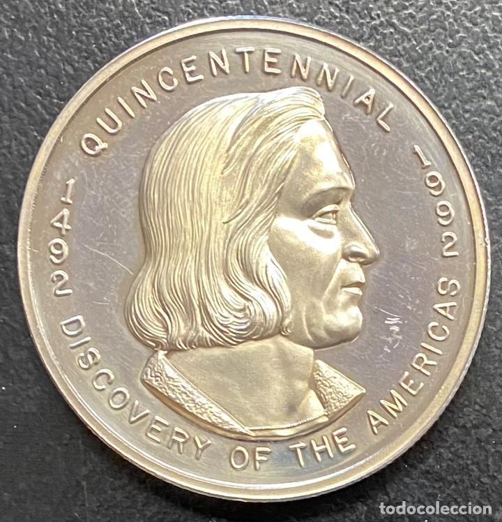 ESPAÑA, MEDALLA DE 2 ONZAS DE PLATA DE COLÓN (Numismática - Medallería - Histórica)