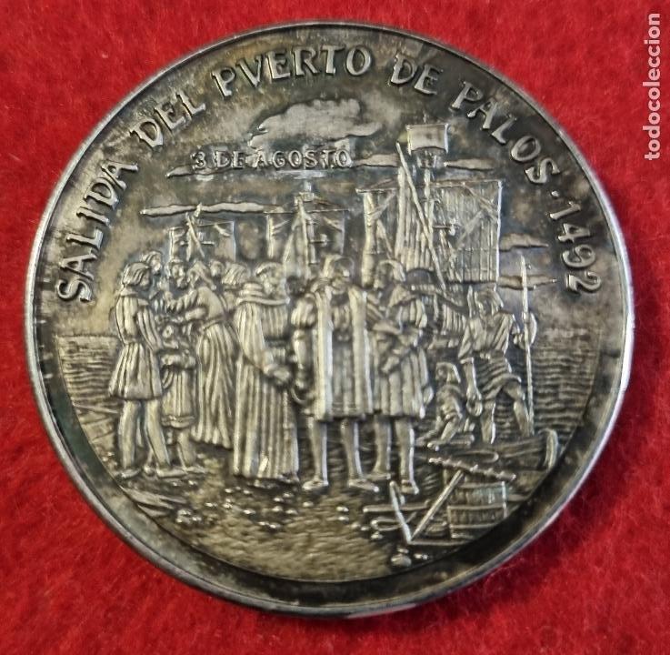 MEDALLA SALIDA DEL PUERTO DE PALOS 1492 EN ALTA MAR RUMBO OESTE PLATA 0,999 ORIGINAL C4 (Numismática - Medallería - Histórica)