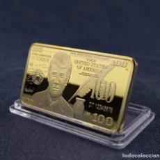 Medallas históricas: LINGOTE 100 DOLARES ORO DE 24 KILAT 42 GRAMOS( TRUMP PRESIDENTE DE ESTADOS UNIDOS ). Lote 260604365