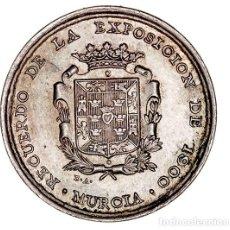 Medaglie storiche: MEDALLA. AE/METAL BLANCO. RECUERDO DE LA EXPOSICIÓN DE 1900 EN MURCIA. 26.00MM. MANTIENE PÁTINA EBC+. Lote 262651065