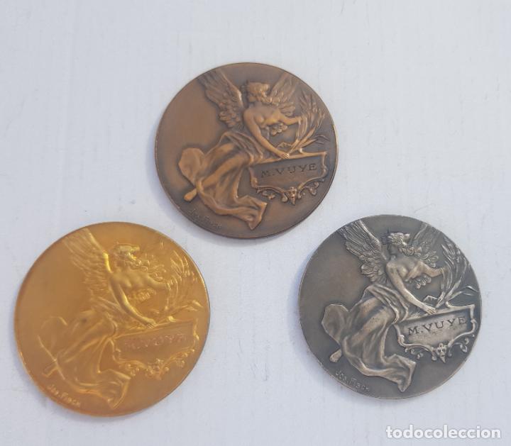 Medallas históricas: TRIO DE MEDALLAS FRANCESAS CATEGORIA BRONCE PLATA Y ORO 1926-1929 ALEGORIAS - Foto 2 - 263357600