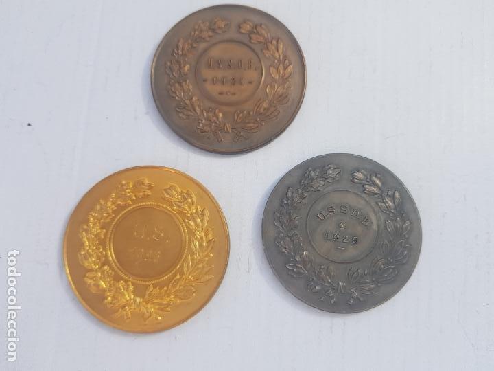 Medallas históricas: TRIO DE MEDALLAS FRANCESAS CATEGORIA BRONCE PLATA Y ORO 1926-1929 ALEGORIAS - Foto 3 - 263357600