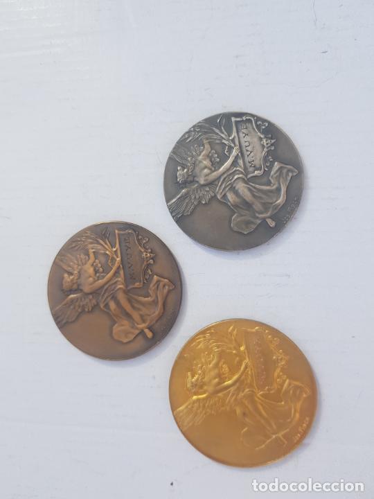 Medallas históricas: TRIO DE MEDALLAS FRANCESAS CATEGORIA BRONCE PLATA Y ORO 1926-1929 ALEGORIAS - Foto 4 - 263357600