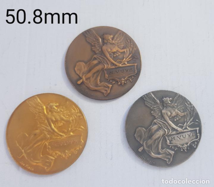 TRIO DE MEDALLAS FRANCESAS CATEGORIA BRONCE PLATA Y ORO 1926-1929 ALEGORIAS (Numismática - Medallería - Histórica)