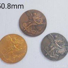 Medallas históricas: TRIO DE MEDALLAS FRANCESAS CATEGORIA BRONCE PLATA Y ORO 1926-1929 ALEGORIAS. Lote 263357600