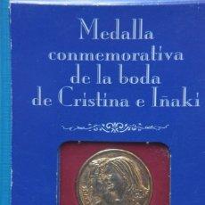 Medallas históricas: MEDALLA CONMEMORATIVA DEL ENLACE DE CRISTINA E IÑAKI EN BARCELONA 1997. REVISTA DIEZ MINUTOS. Lote 263786960