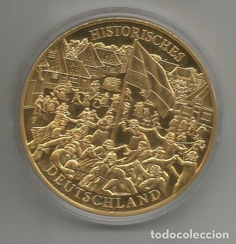 Medallas históricas: ALEMANIA HISTÓRICA - INAUGURACIÓN DEL MONUMENTO DE LA BATALLA - BAÑADA DE ORO - NUEVA - MEDIO 50 MM - Foto 2 - 267806084