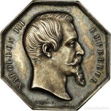 Medallas históricas: [#716557] FRANCIA, TOKEN, INSURANCE, NAPOLÉON III, BOURSE DE PARIS, CAQUÉ, EBC, PLATA. Lote 269191028