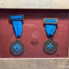 Medallas históricas: 2 MEDALLA DE LA HERMANDAD DE DONANTES DE SANGRE DE LA S.S. - VALENCIA ENMARCADAS. Lote 269457378
