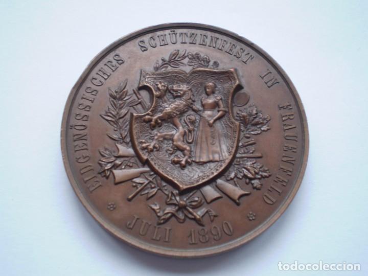 82SCD14 SUIZA THURGAU FRAUENFELD 1890 MEDALLA DE BRONCE DEL FESTIVAL DE TIRO (Numismática - Medallería - Histórica)