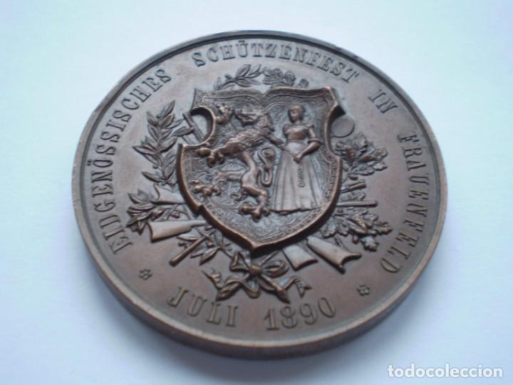 Medallas históricas: 82SCD14 Suiza Thurgau Frauenfeld 1890 medalla de bronce del festival de tiro - Foto 2 - 270403573