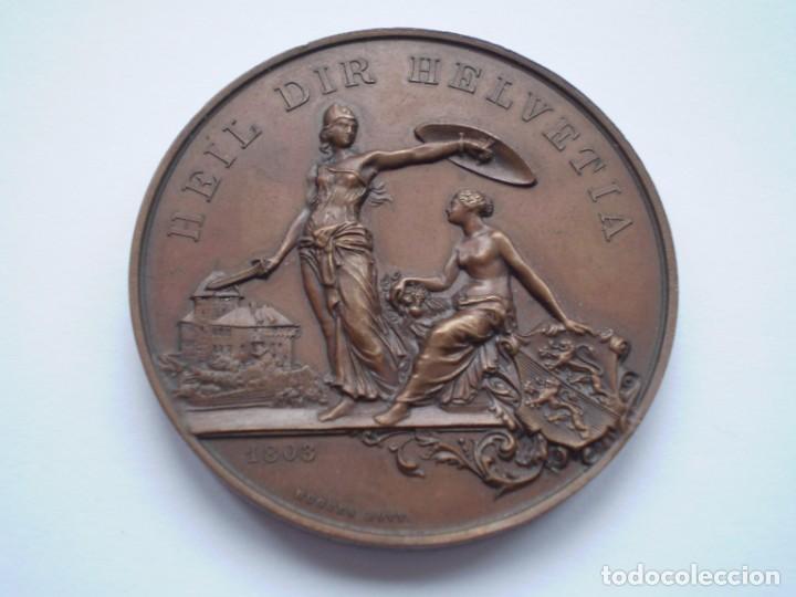 Medallas históricas: 82SCD14 Suiza Thurgau Frauenfeld 1890 medalla de bronce del festival de tiro - Foto 3 - 270403573