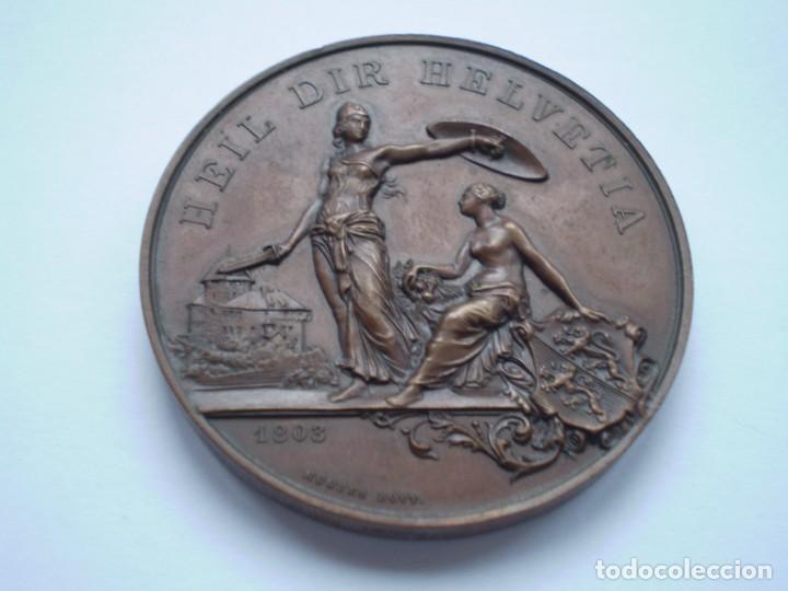 Medallas históricas: 82SCD14 Suiza Thurgau Frauenfeld 1890 medalla de bronce del festival de tiro - Foto 4 - 270403573