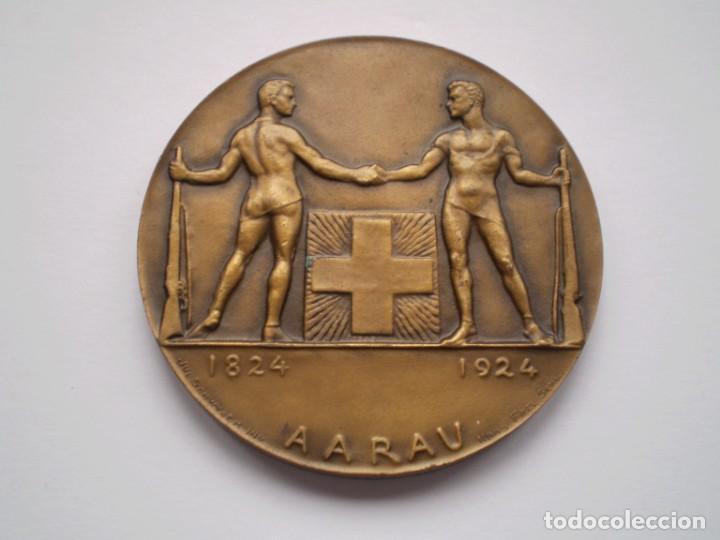 81SCD14 SUIZA AARAU 1924 MEDALLA DE BRONCE FESTIVAL DE TIRO (Numismática - Medallería - Histórica)
