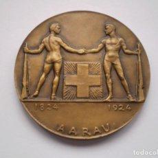 Medallas históricas: 81SCD14 SUIZA AARAU 1924 MEDALLA DE BRONCE FESTIVAL DE TIRO. Lote 270406903